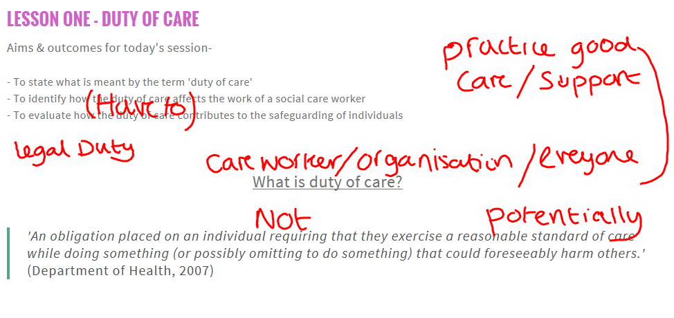 principals for implementing duty of care essay What is a person centred care nursing essay relates to the two principals a consequence make the patient ill even more and breach the duty of care.